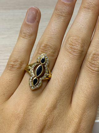 Anillo Oro 18K, Zafiros y Diamantes
