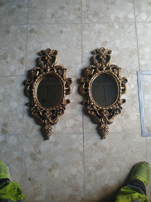 par de espejos de pared (madera)