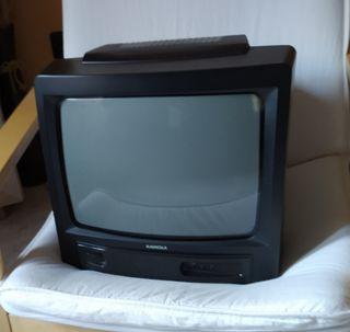Televisión analógica negra pequeña