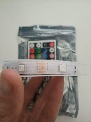 Tira luces LED 5 metros con mando y controlador