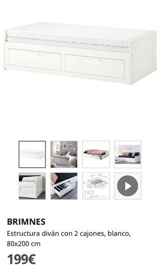 Cama - diván Ikea con 2 cajones sin estrenar
