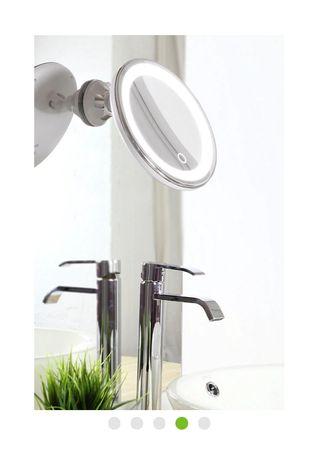 Espejo de aumento con luz x 7 gris / plata