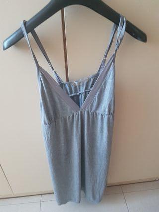 vestido gris mango estilo lencero