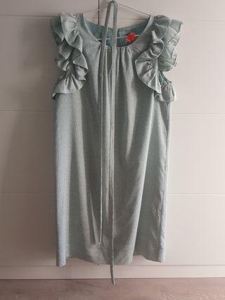 vestido mujer con volantes en mangas