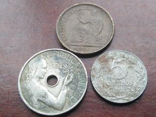 3 monedas de la II República Española
