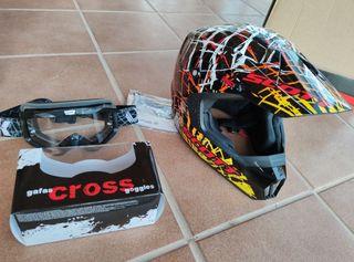 casco motocross enduro moto y gafas