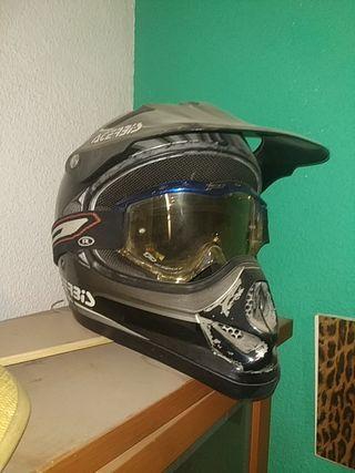 casco moto Cross acerbis y gafas progrip