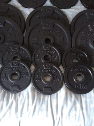 Discos pesas 1kg para mancuernas. Gym fitness