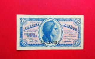 Dificil serie C 50 centimos 1937 REPÚBLICA