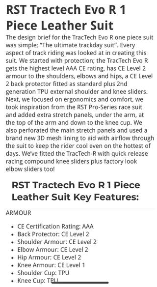 Rst tracktech evo r race suit