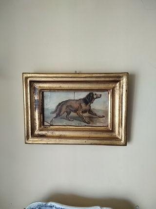 Cuadro óleo perro con marco dorado