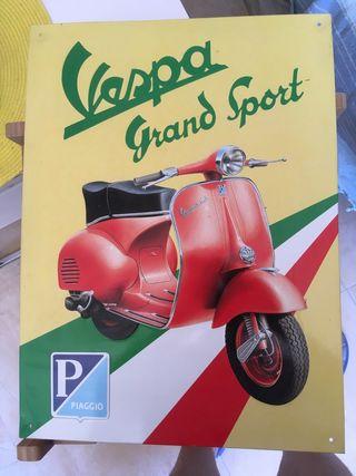Cartel chapa Vespa GS vintage Scooter