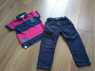 Conjunto niño pantalón de pana + polo talla 3 años