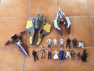 Muñecos antiguos star Wars y naves