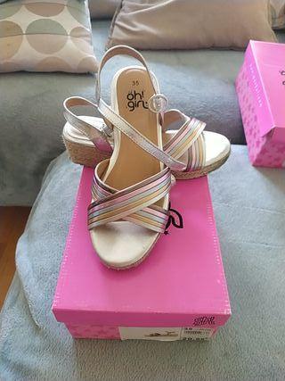 Sandalias de cuña para niña, talla 35