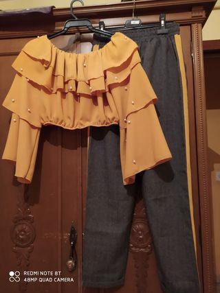 Conjunto pantalon y blusa corta