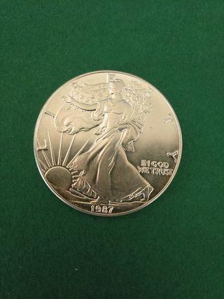 Moneda de plata de Estados Unidos. 1 onza plata.