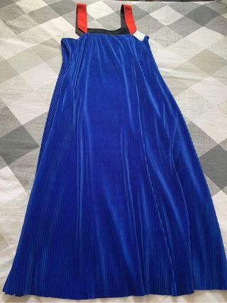 Vestido azulón Zara plisado