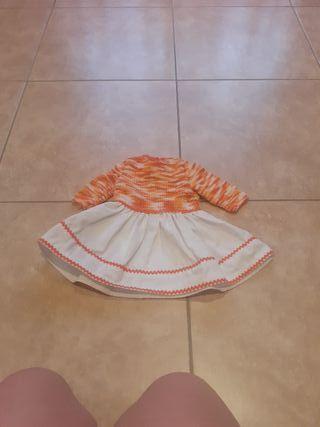 vestido artesanal bebé o muñeca reborn
