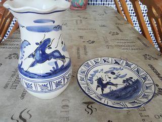 Juego jarrón y plato decorativo