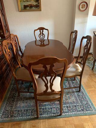 Mesa salón extensible y seis sillas