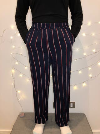Elastic Blue Trousers with stripes