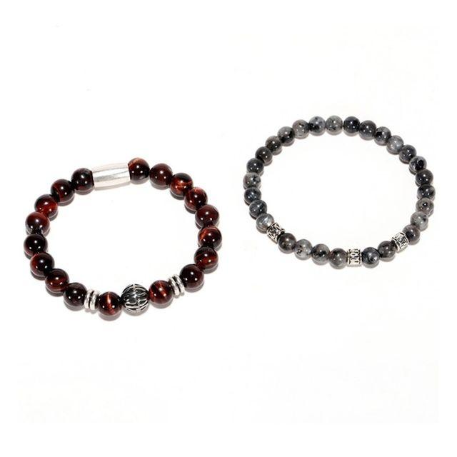 set de 2 pulseras unisex para hombres, con piedras
