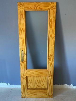 Puertas madera con cristal x2