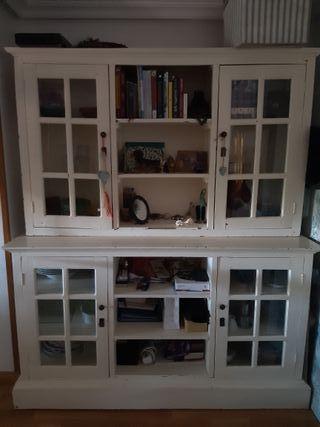 Mueble alacena madera maciza lacada en blanco
