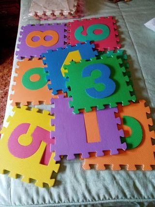 Alfombra puzzle bebé goma eva números bebés 30x30
