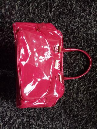 red/pink/shiny antler handbag