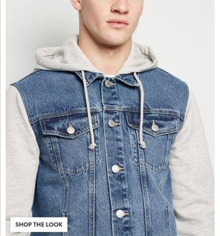 Pale Blue Jersey Sleeve Hooded Denim Jacket