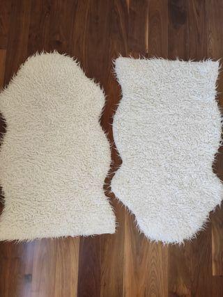 2 alfombras Ikea pelo blanco