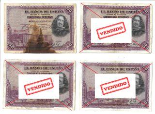 Billete de 50 pesetas de 1928. Diego de Velazquez