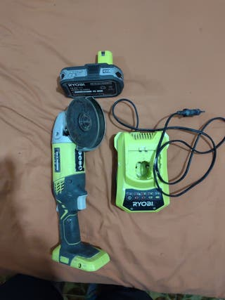 radial,amoladora de batería ryobi