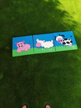 3 cuadros infantiles pintados a mano 40x40