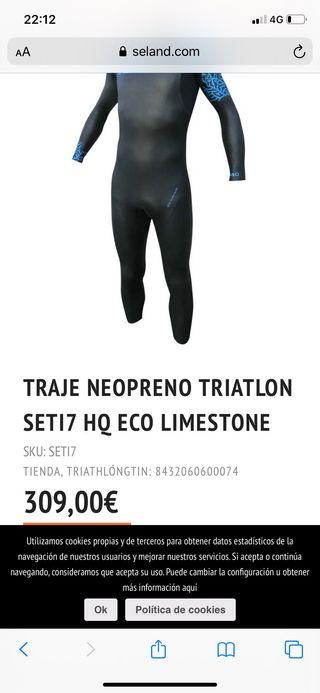 Neopreno nuevo natación y triatlón Seland talla M