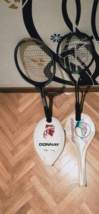 dos raquetas de tenis 1 es donnay y KARHU.