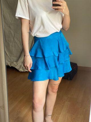 Falda volantes azul zara