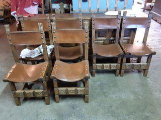 6 sillas antiguas con cuero