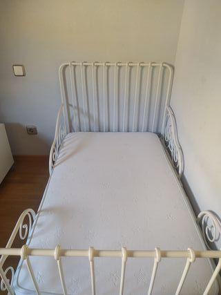 cama forja Ikea+ colchón+ valla