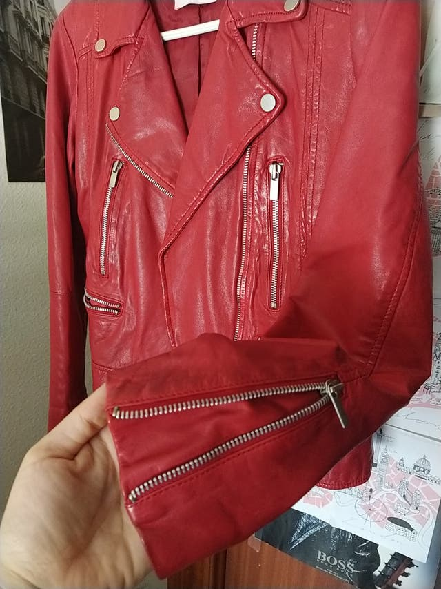 chaqueta nueva roja de cuero 100%
