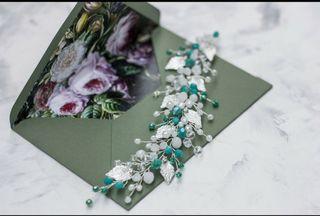 Tocado de novia tono verde y plata tiara diadema
