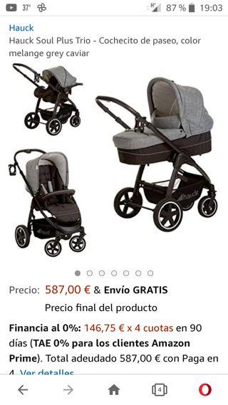 Carrito bebe Hauck trio soul color gris
