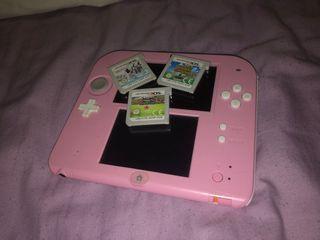 Nintendo 2ds rosa+3juegos