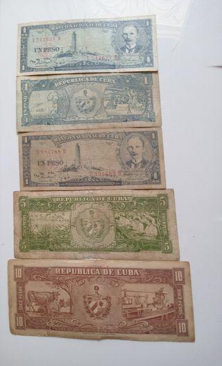 Billetes cubanos antigüos