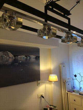 Lámpara de techo hierro, acero y cristal 4 focos