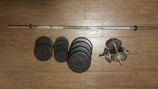 Barra musculación 1.20 para discos y pesas