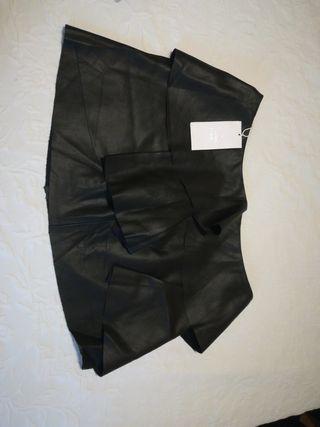 falda cuero Zara negra