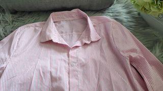 Camisa/vestido de rayas blanca y rosa. Talla M.